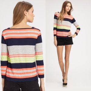 Marc by Marc Jacobs Orange Grey Neon Striped Top